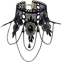 Elegant Vintage Princess Black Lace Gothic Statement Necklace Bracelet Victoria