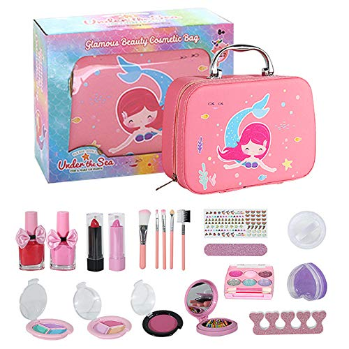 Souarts Maquillage Enfant Jouet Coffret Maquillage Enfant Fille Cadeau pour Princesse Kit de Maquillage Lavables Trousse Maquillage Enfant(Rose(sac étoile),Taille unique)