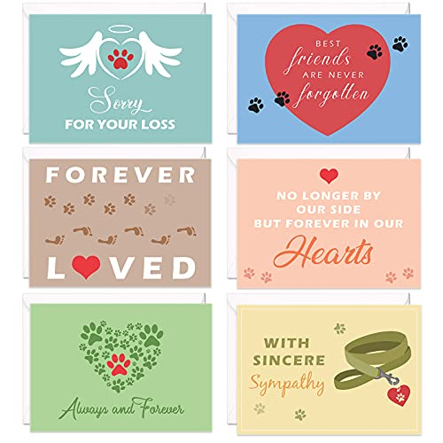 12 Pieces Loss of Pet Sympathy Cards with Envelopes for Dogs Cats and All Pets Grief Bereavement Greeting Cards with Thick Envelopes