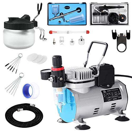 Professional Airbrushing Paint System with 1/5HP Air Compressor with Cooling Fan Auto On/Off and 2 Airbrush Kits with Airbrush Cleaning Pot and Replaceable Nozzle Needle for Makeup,Cake Decoration,Art