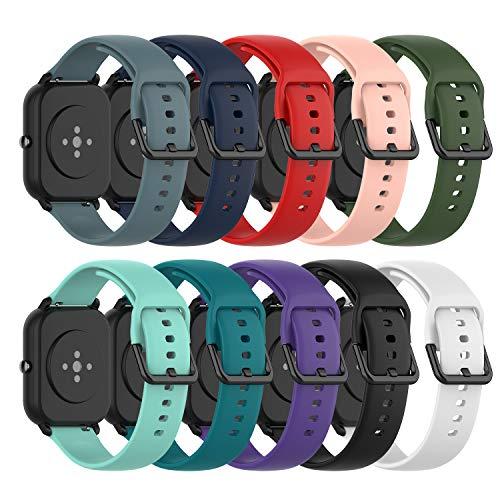 Ruentech Ersatzarmband Kompatibel mit Amazfit GTS/Amazfit Bip/Amazfit GTR 42mm/Samsung Galaxy Watch 3 41mm Band Armbänder Silicone Zubehör (small, 10 Colors)