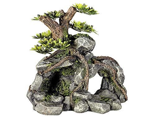 Nobby Aqua Ornaments STEINHÖHLE mit Pflanzen 13,3 x 9,5 x 12,8 cm