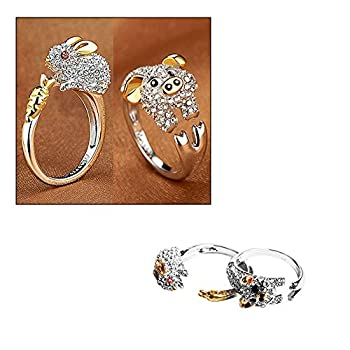 Wixine 2Pcs Cute Finger Ring Crystals Bunny Jewelry Animal for Women Rabbit Rings &Pig Rings Adjustable