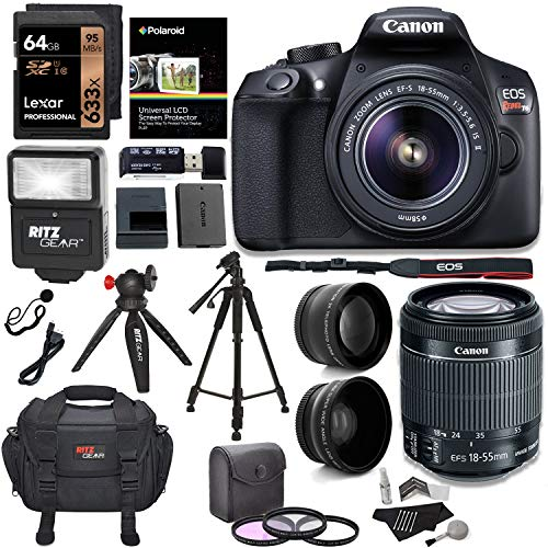 """Canon EOS Rebel T6 Digital SLR Camera Kit with EF-S 18-55mm f/3.5-5.6 IS II Lens + Polaroid .43x Super Wide Angle & 2.2X HD Telephoto Lens + 50"""" & 8"""" Polaroid Tripods + Memory Cards + Accessory Bundle"""