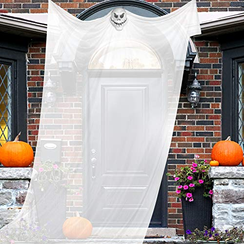 Whaline 10.8ft Halloween Hanging Ghost Decorations, Hanging Skeleton Ghost Scary Props for Home, Yard, Outdoor, Indoor, Party, Bar, Tree, Wall, Veranda, Porch, Eaves, Haunted House