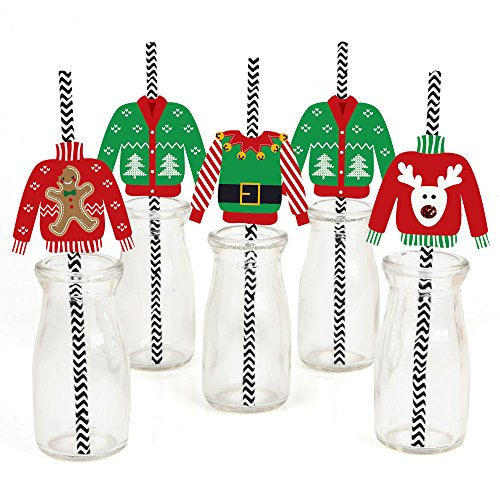 Ugly Sweater Striped Decorative Straws - Set of 24