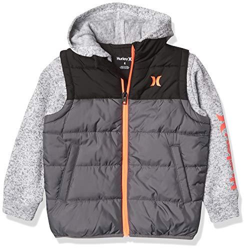 Hurley Boys' 2fer Puffer Jacket, Cool Grey, L