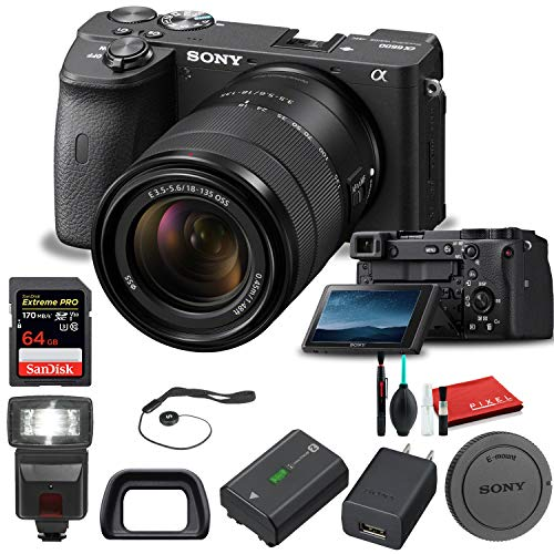 Sony Alpha a6600 Mirrorless Digital Camera with 18-135mm Lens (ILCE6600M/B) with Flash, 64GB Memory Card, Cleaning Set and More - Base Bundle