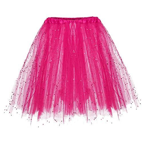 Falda de Tutu Mujer,SHOBDW Niños Princesa Pettiskirt Regalo de cumpleaños Sólido Paillette Elástico 3 Capas Fluffy Mini Falda Corta Adulto Rendimiento Traje Baile Falda(Rosa)