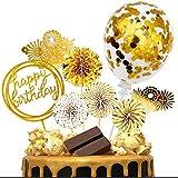 iZoeL Or gâteau Anniversaire décoration Cake Topper, Or Fan Papier Joyeux Anniversaire bannière confettis Ballon feu Artifice Star Or thème fête décor Mariage Fille garçon Enfant Femmes Homme