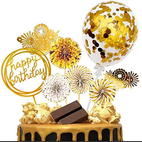 iZoeL Or Décoration Gâteau Anniversaire Joyeux Anniversaire Cake Topper Fans Papier Bannière Ballon pour Or Thème Fête Décor Fille Garçon Enfant Femmes Homme