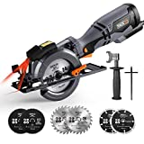 Circular Saw, TACKLIFE Mini Circular Saw 3500RPM, Metal Handle, 6 Blades (120mm & 115mm), Cutting Depth: 90°...
