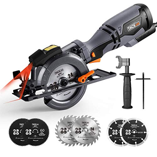Circular Saw, TACKLIFE Mini Circular Saw 710W 3500RPM with Laser, Electric Saw with Metal Handle, 6 Blades (120mm & 115mm), Cutting Depth: 90° (46mm), 45° (35mm), 3 M Cord - TCS115A