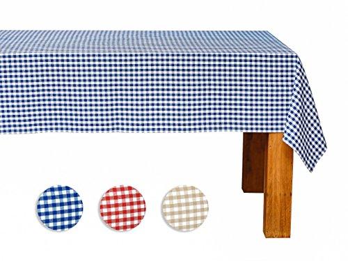 FILU Tischdecke 130 x 220 cm Blau/Weiß kariert (Farbe und Größe wählbar) - hochwertig gefertigtes Tischtuch aus 100% Baumwolle