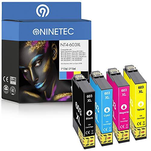 NINETEC NT4-603XL - Juego de 4 cartuchos compatibles con Epson 603XL 603 XL | para Workforce WF-2810DWF WF-2830DWF WF-2835DWF WF-2850DWF Expression Home XP-2100 XP-2105 XP-3100 XP-3105 XP-4100 XP-4105