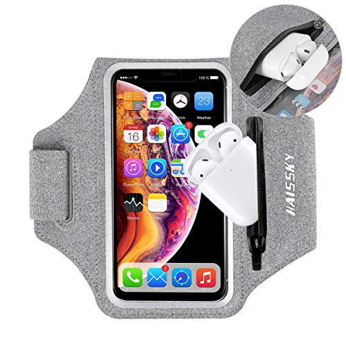Guzack Water Resistant Cell Phone Running Armband with AirPods Case for iPhone 11/11 Pro/XS/XR/8/7/6, Galaxy S20/S20+/S20 Ultra up to 6.9', Adjustable Band & Card Key Holder for Running Hiking Biking