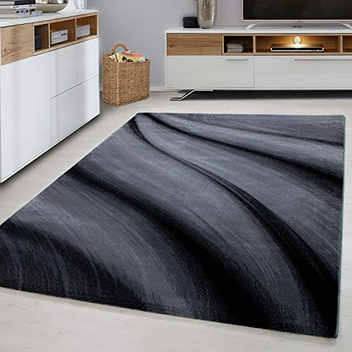 Modern Style Rug WAVES Design Black Grey Charcoal Rugs Living Room Extra Large Size Soft Touch Short Pile Carpet Area Rugs Non Shedding (120cm x 170cm (4ft x 6ft))