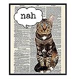 Funny Cat Wall Art - Cat Wall Decor - Unique Gift for Cat Lover, Kitty, Kitten Feline Fan, Veterinarian - Upcycled Dictionary Art - Home Decor for Bedroom, Living Room, Home, Vet Office