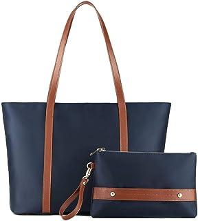 Plambag Women Tote Shoulder Bag, Large Capacity Nylon Work Bag Set with Wristlet Handbag Navy Blue
