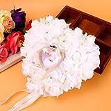 Lazmin112 Scatola per FEDI Nuziali Rosa, Cuscino per FEDI Nuziali Cuscino per FEDI Nuziali, romantiche Rose bomboniere Cuore Perle Regalo per FEDI Nuziali Cuscino per Cuscini