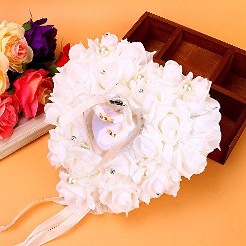 Rose Ehering Box, Ehering Kissen Herzform Ringkissen, romantische Rose Hochzeit Bevorzugungen Herz Perle Geschenk Ring Box Kissen Kissen