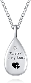 ACJFA 925 Sterling Silver Cremation Jewelry Memorial Teardrop Keepsake Ashes Urn Pendant Necklace for Women