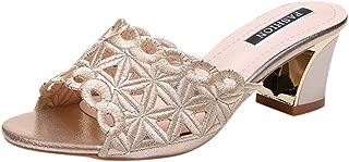 Low Heel Mules,ONLY TOP Women's Dress Sandals Slingback Slip On Kitten Heels Open Toe Embroidery Slide Sandals