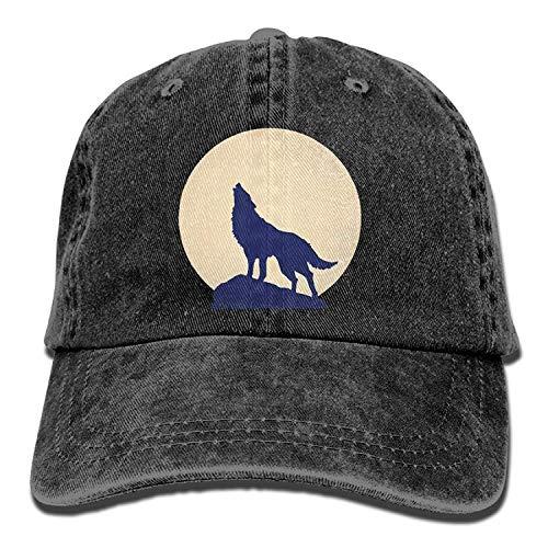 Hoswee Unisex Kappe/Baseballkappe, Washed Moon Wolf Casual Denim Baseball Cap Adjustable Hunting Hat