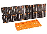 VViViD Heavy-Duty Plastic Wall-Mounted DIY Tool Organizer Pegboard and Tray Set