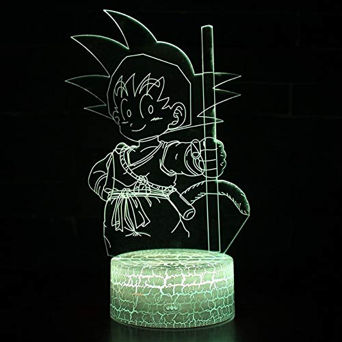 Anime nachtlampje Gott Action-Figuren 3D illusie tafellamp 7 kleuren veranderende nachtlampje jongens kind-baby-geschenken (Color : Touch 3 COLOR)