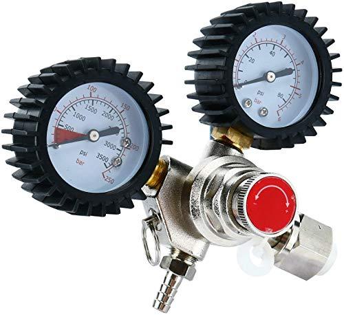 TOPQSC Regulador de CO2, válvula de alivio de presión 0-3000 tanques de dióxido de carbono válvula reductor de presión para cerveza casera Kegerator CGA320, se puede utilizar en cilindro de CO2