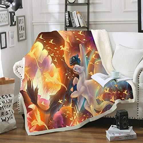 Cómo entrenar a tu dragón, manta de anime y manta de microfibra suave para niños, patrón de impresión 3D, manta de sofá de franela y manta de lana de dibujos animados,135x150cm(53.1x59 pulgada)