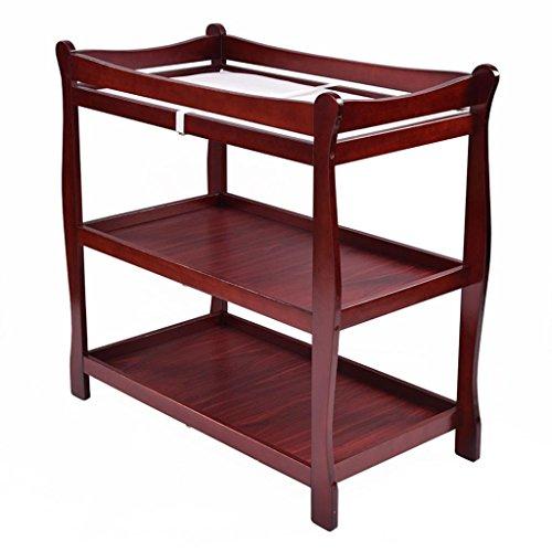 Ali@ Table à langer évolutive en chêne, bébé de 0 à 3 ans Prendre une baignoire Table à massage en relief, trois couches peut être déplacé Cadre en coin, charge 60 kg (Couleur : Cherry red)