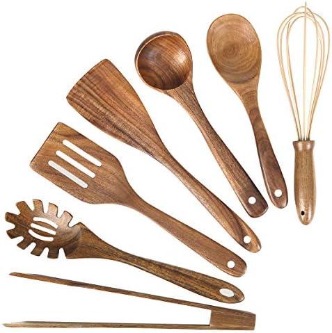 Wooden Kitchen Utensil Set Wood Utensils Cooking Set Organic Teak Wood Spoons for Cooking Spatulas product image