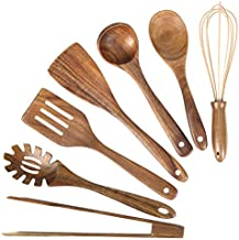 Wooden Kitchen Utensil Set,Mondayou Wood Utensils Cooking Set Organic Teak Wood Spoons for Cooking,Spatulas Non-Stick for Cookware Kitchen Gadgets (7)