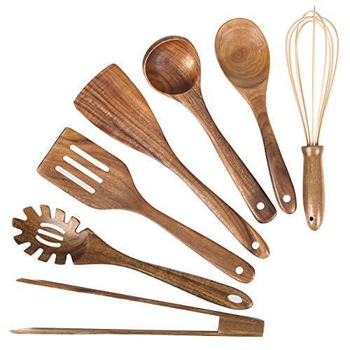 Wooden Kitchen Utensil Set, Wood Utensils Cooking Set Organic Teak Wood Spoons for Cooking,Spatulas Non-Stick for Cookware Kitchen Gadgets (7)