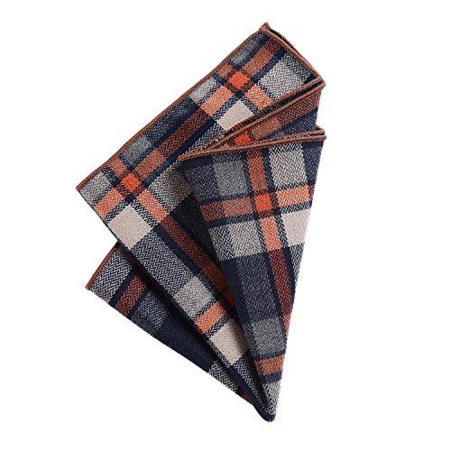 DonDon Herren Hanky hochwertiges Einstecktuch 23 x 23 cm Baumwolle schwarz-orange-beige kariert Karo Karomuster