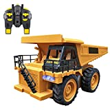 Fine Construction Toys,1:14 RC Truck 6CH RC Dumping Truck Remote Control Engineering Van Loader Electronics Hobby Simulation Construction Toys Gift for Kids (Yellow)