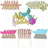 Zonon 31 Stück Meerjungfrau Glitter Alles Gute zum Geburtstag Kuchen Topper und Cupcake Topper Dekorationen für Meerjungfrau Party, unter dem Meer Party, Geburtstagsfeier