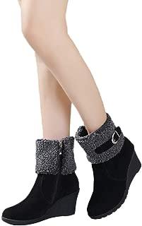 Wadonerful Women Snow Boots Round Toe Wedges High Heel Shoes Waterproof Platform Buckle Zipper Warm Short Ankle Booties