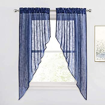 RYB HOME Sheer Valances Curtains - Privacy Window Topper Curtains Linen Textured Sheer Swag Curtains for Living Room Bedroom Dining Decor Navy Blue 36 inch Wide x 63 inch Long 2 Panels