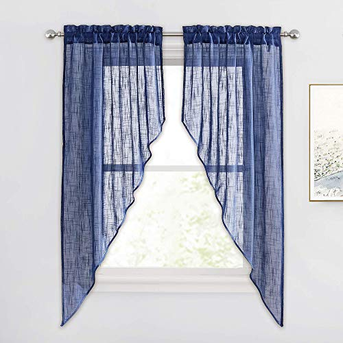 RYB HOME Sheer Valances Curtains - Privacy Window Topper Curtains Linen Textured Sheer Swag Curtains for Living Room Bedroom Dining Decor, Navy Blue, 36 inch Wide x 63 inch Long, 2 Panels