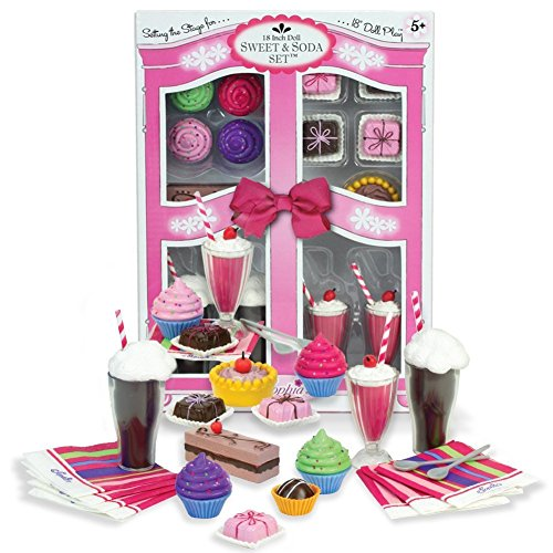 Sophia's Complete 27 PC Doll Accessory Food Set, 15 Sweet Treats & Spoons & Paper Napkins, 18' Doll Pretend & Doll Accessory Play Set; Floats, Shakes, Cupcakes & More in Decorative Keepsake Box