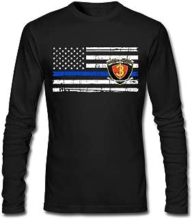 1st Battalion 3rd Marines Decal Thin Blue Line Flag Mens Long Sleeve T-Shirt Cotton Tee