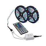 Tiras LED de HELAHOME, 5 m, 3528 SMD, 300 LED, RGB, cambio de color, flexible, tiras de luz LED + mando a distancia de 44 teclas IR para decoración de hogar