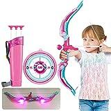 Hahepo Juego de tiro con arco para niños, incluye tabla, soporte de flecha, ventosa, flechas y luces LED, arco para niños, juego de interior y exterior