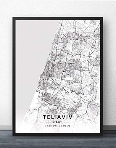 ZWXDMY Leinwand Bild,Israel Tel Aviv City Karte Schwarz Weiß Einfache Abstrakte Buchstaben Line Print Leinwand Gemalt Poster Rahmenlose Wandbild Kaffee Haus Dekoration Studie, 30 × 40 cm.