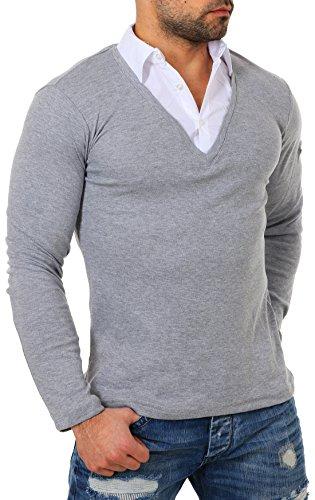 ReRock Herren 2in1 Longsleeve Hemd Kragen Shirt Pullover Langarm mit tiefem V-Ausschnitt einfarbig Slimfit Stretch, Grösse:M, Farbe:Grau