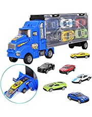 DELFINO Shipping Container Truck Transport Car Carrier Truck Toy Car Toy Truck Toy Kids Car Toys Carrier Truck Toy Set with 6 Car Toys Inside Mini Truck Toy Kids Truck Transport Car for Boys Girls