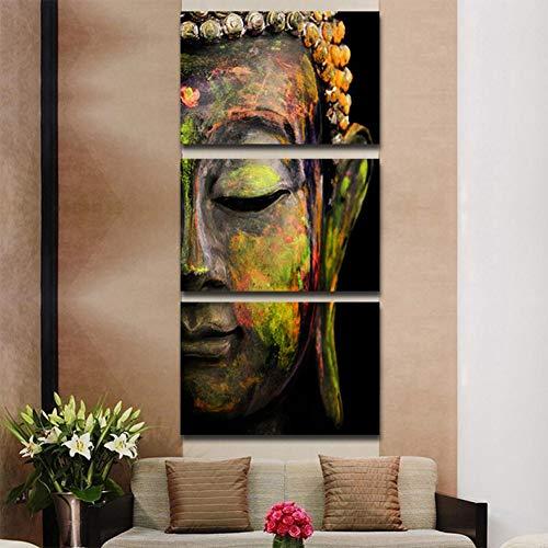 Cuadro en Lienzo Buda Decoracion de Pared Para Salon Cuadro en Lienzo Tejido-No Tejido, 3 Piezas Sin Marco Pintura de Inyección de Tinta de Ilustraciones Foto Decoración del Hogar,Frameless,size 2